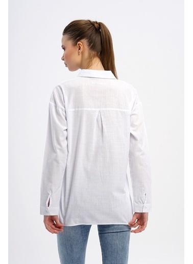 Nismia Deniz Sevdası Pamuklu Basic Gömlek Beyaz